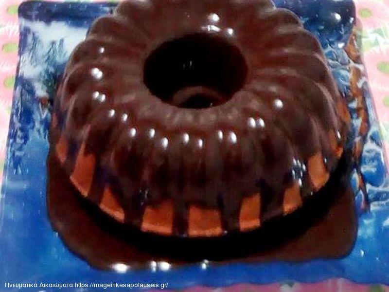 Κέικ πορτοκαλιού με ελαιόλαδο & γλασο σοκολάτας