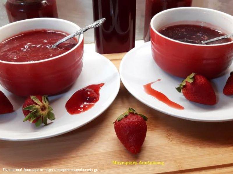 Φράουλα σιρόπι και μαρμελάδα