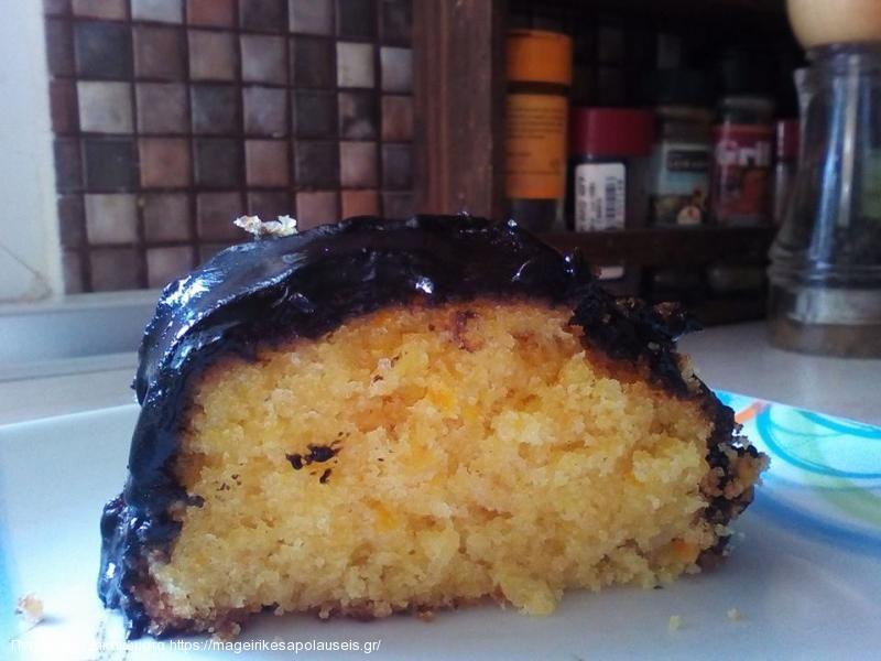 Κέικ με ολόκληρο πορτοκάλι με γλάσο σοκολάτας!!