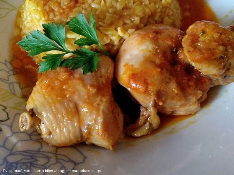 Κοτόπουλο κοκκινιστό με πλιγούρι της Λίνας