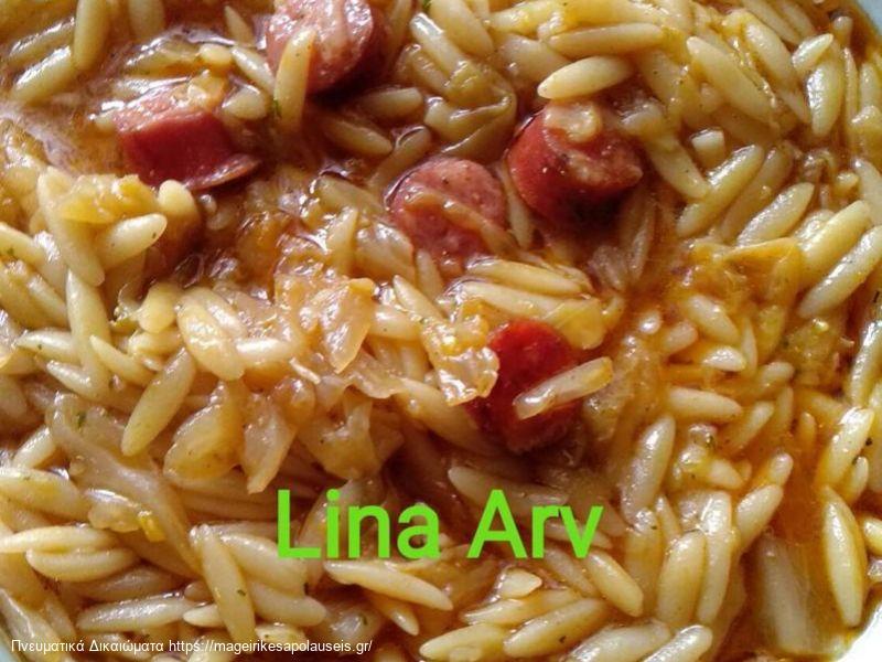 Σούπα με κριθαράκι, λουκάνικο και λάχανο της Λίνας